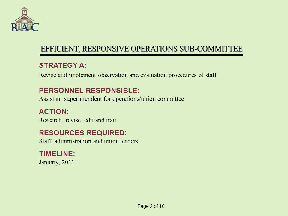 STRATEGY A: Revise and implement observation and evaluation procedures of staff PERSONNEL RESPONSIBLE: Assistant superintendent for operations/union committee ACTION: Research, revise, edit and train RESOURCES REQUIRED: Staff, administration and union leaders TIMELINE: January, 2011 Page 2 of 10
