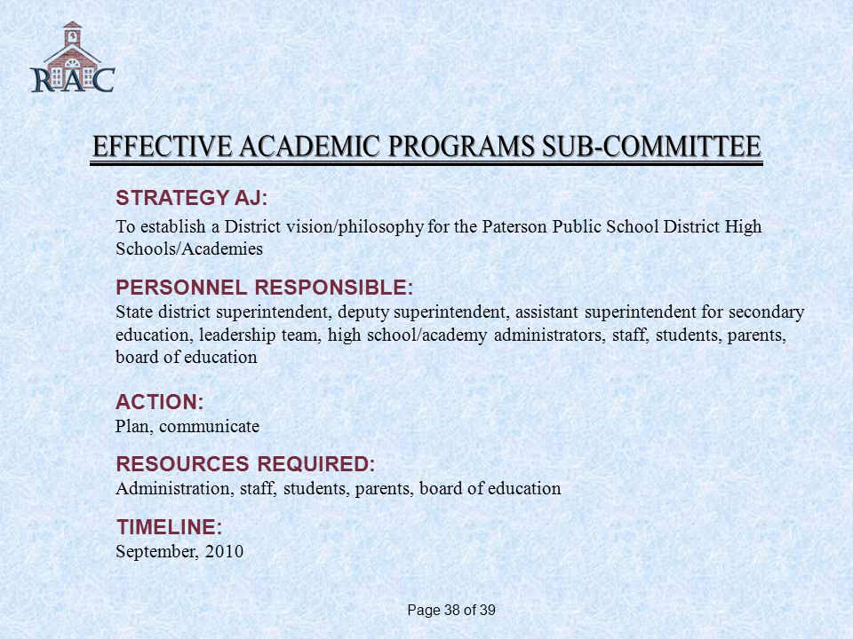 STRATEGY AJ: To establish a District vision/philosophy for the Paterson Public School District High Schools/Academies PERSONNEL RESPONSIBLE: State district superintendent, deputy superintendent, assistant superintendent for secondary education, leadership team, high school/academy administrators, staff, students, parents, board of education ACTION: Plan, communicate RESOURCES REQUIRED: Administration, staff, students, parents, board of education TIMELINE: September, 2010 Page 38 of 39