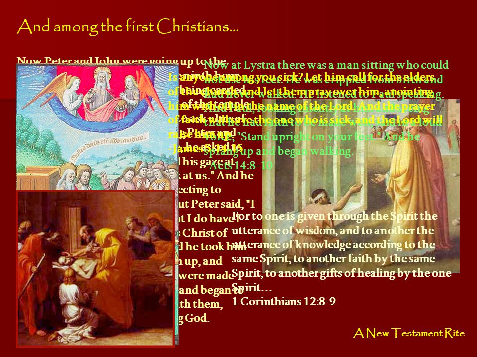 And among the first Christians… Now Peter and John were going up to the temple at the hour of prayer, the ninth hour. And a man lame from birth was be