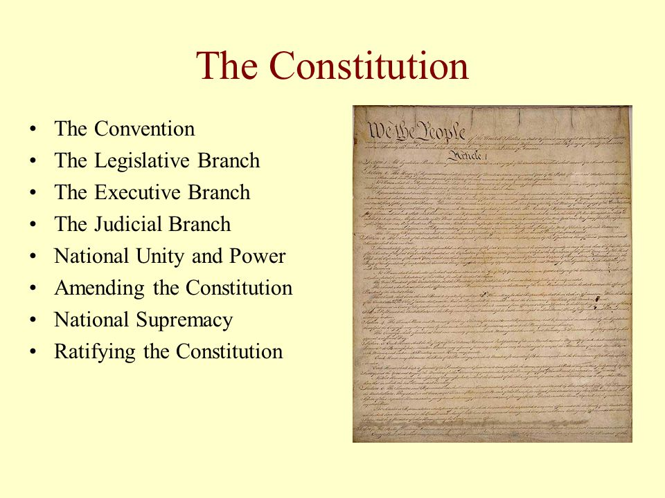 The Constitution The Convention The Legislative Branch The Executive Branch The Judicial Branch National Unity and Power Amending the Constitution Nat