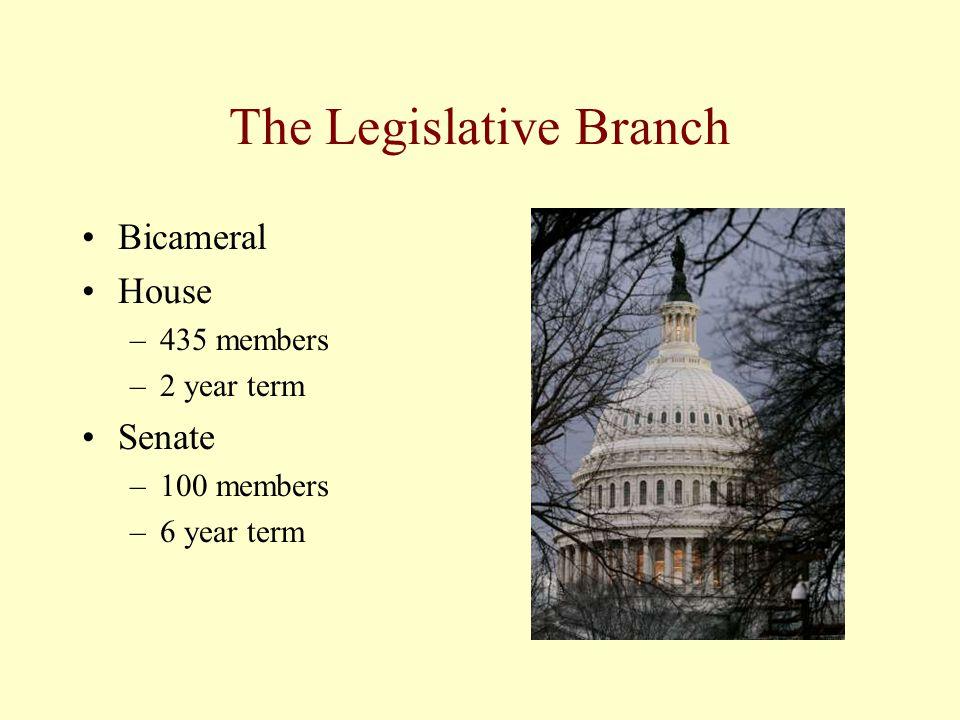 The Legislative Branch Bicameral House –435 members –2 year term Senate –100 members –6 year term