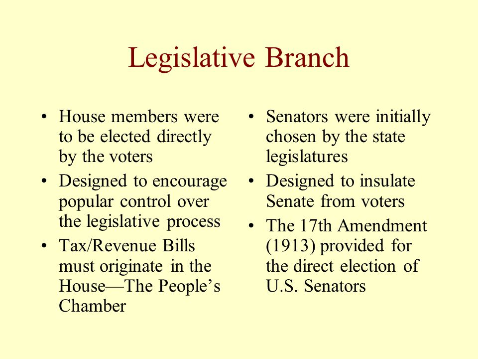 Legislative Branch House members were to be elected directly by the voters Designed to encourage popular control over the legislative process Tax/Reve