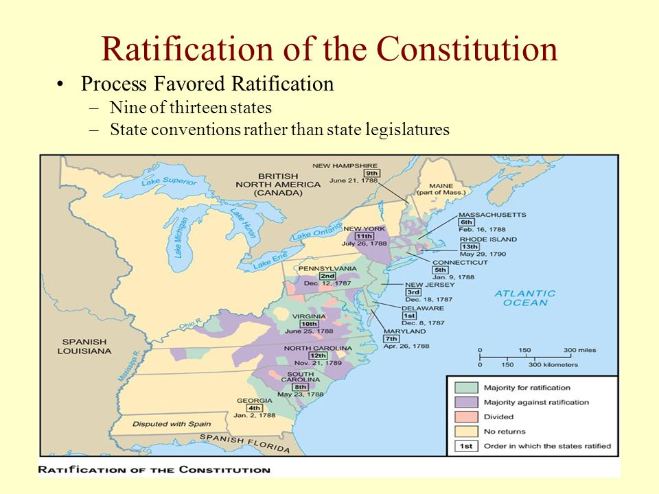 Ratification of the Constitution Process Favored Ratification –Nine of thirteen states –State conventions rather than state legislatures