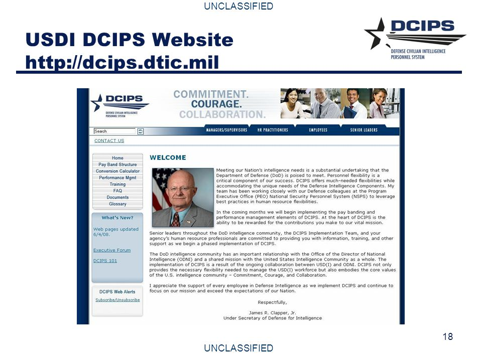 UNCLASSIFIED 18 USDI DCIPS Website http://dcips.dtic.mil