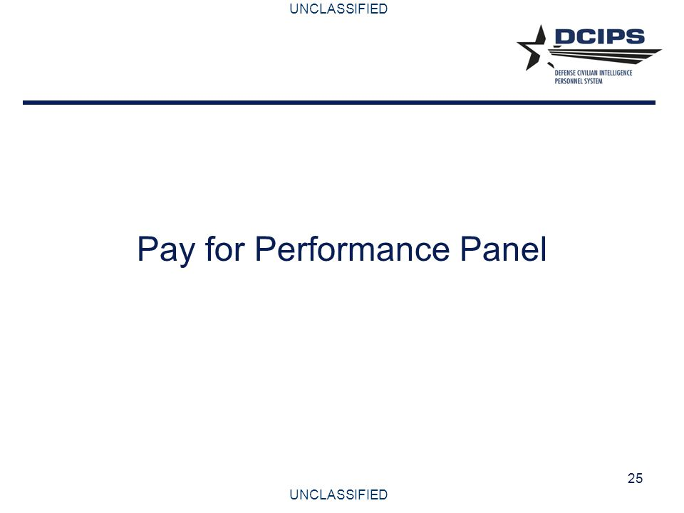 UNCLASSIFIED 25 Pay for Performance Panel