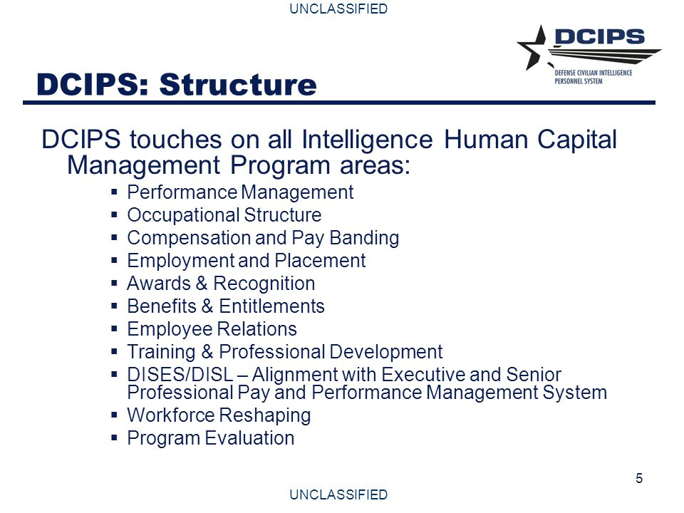 UNCLASSIFIED 5 DCIPS: Structure DCIPS touches on all Intelligence Human Capital Management Program areas:  Performance Management  Occupational Stru