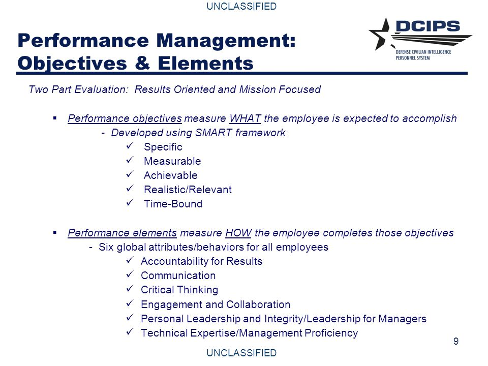 UNCLASSIFIED 9 Performance Management: Objectives & Elements Two Part Evaluation: Results Oriented and Mission Focused  Performance objectives measur