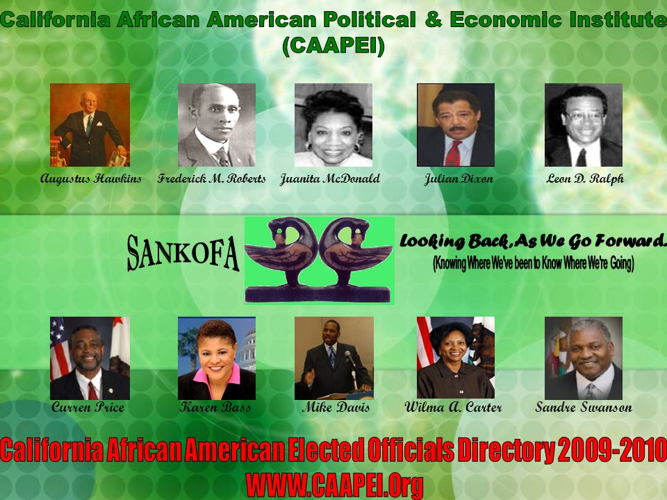 WELCOME to this new edition of the CAAPEI's DIRECTORY OF BLACK ELECTED OFFICIALS IN CALIFORNIA, 2009-2010.