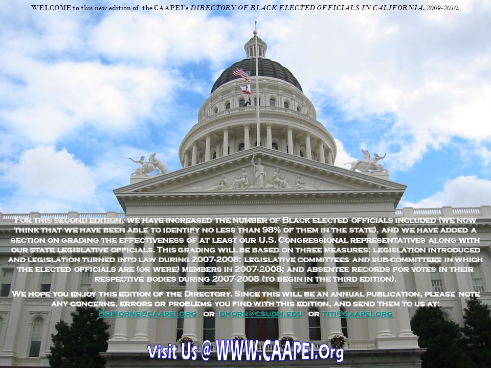 The California African American Political and Economic Institute was created by California State legislation, SB 1721, in 2002, as one of former State Senator Tom Hayden's last bills and was originally signed by former Governor Gray Davis.