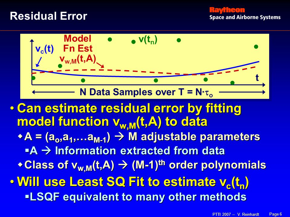 Page 6 PTTI 2007 -- V. Reinhardt Can estimate residual error by fitting model function v w,M (t,A) to dataCan estimate residual error by fitting model