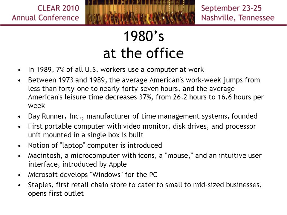 1980's at the office In 1989, 7% of all U.S.