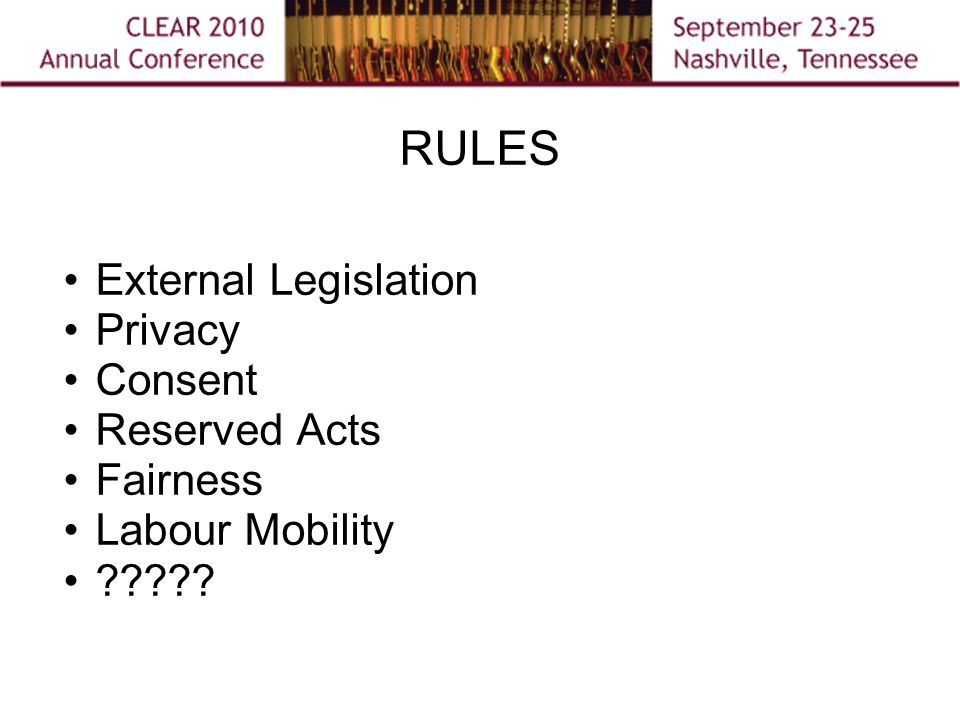 RULES External Legislation Privacy Consent Reserved Acts Fairness Labour Mobility