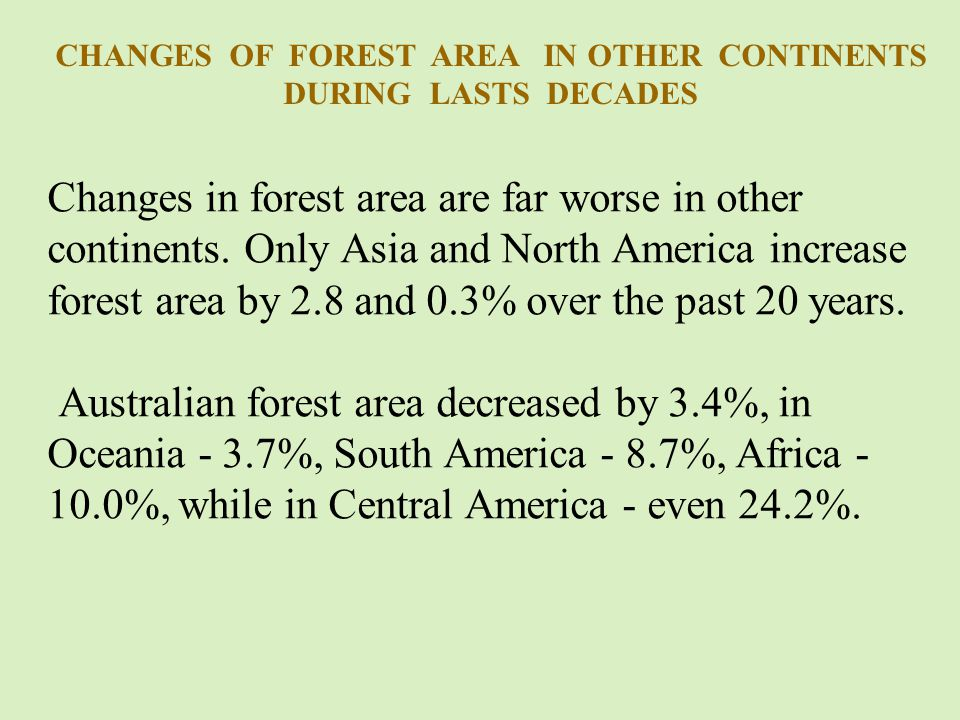 Changes in forest area are far worse in other continents.