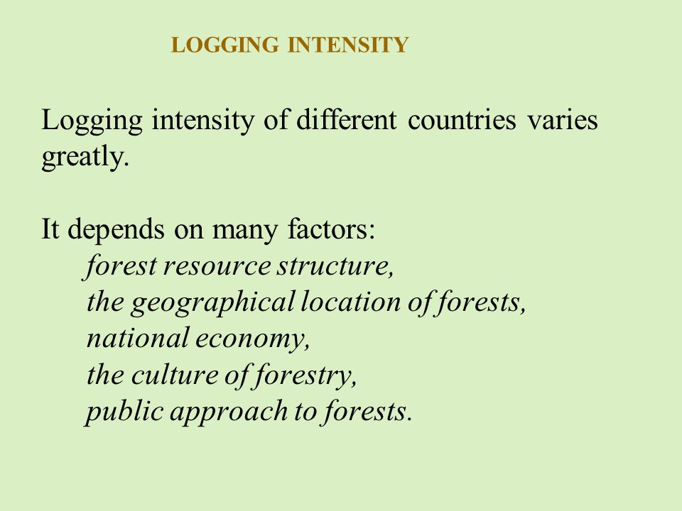 Logging intensity of different countries varies greatly.