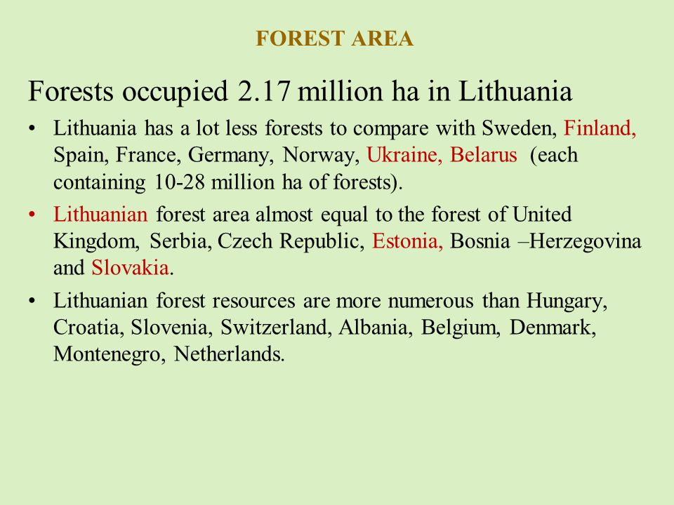 THE AVERAGE AREA OF FOREST FIRE IN LITHUANIA AND EU COUNTRIES (1992-2010)