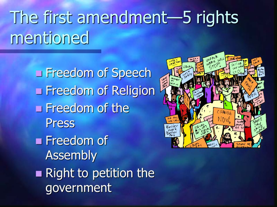 The first amendment—5 rights mentioned Freedom of Speech Freedom of Speech Freedom of Religion Freedom of Religion Freedom of the Press Freedom of the Press Freedom of Assembly Freedom of Assembly Right to petition the government Right to petition the government
