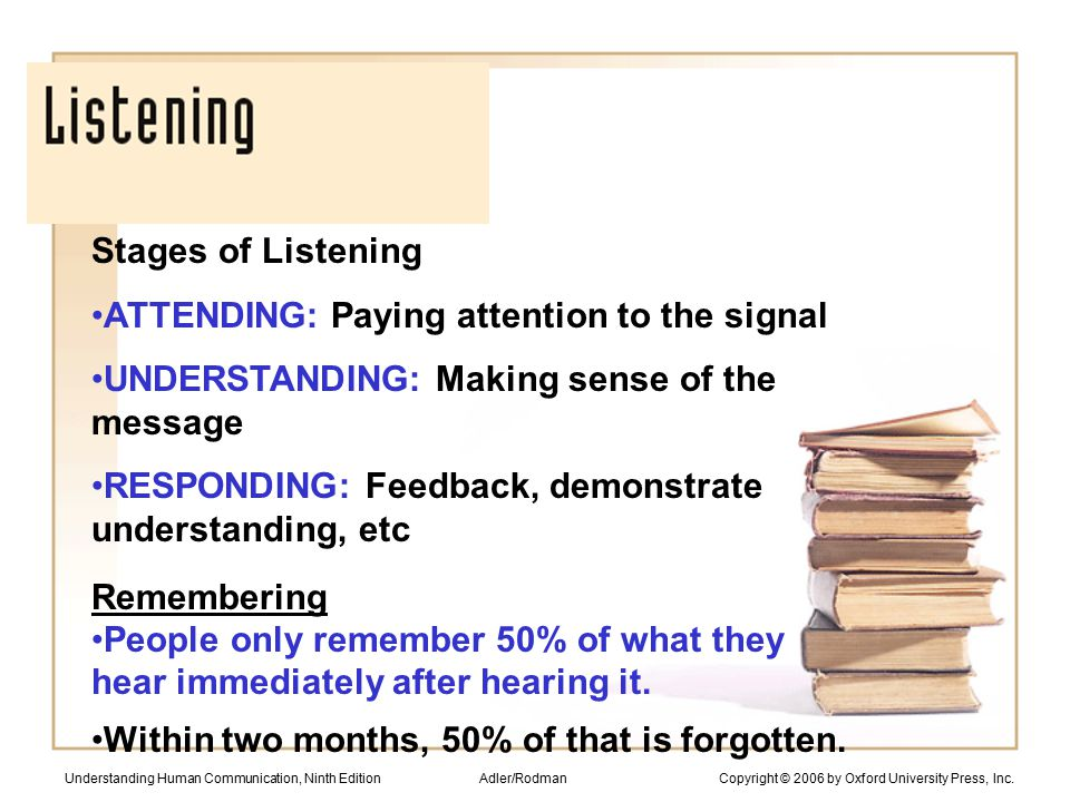 Stages of Listening ATTENDING: Paying attention to the signal UNDERSTANDING: Making sense of the message RESPONDING: Feedback, demonstrate understanding, etc Remembering People only remember 50% of what they hear immediately after hearing it.