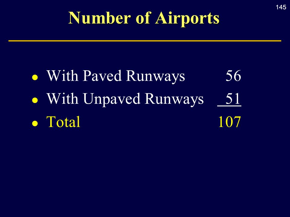 145 Number of Airports l With Paved Runways56 l With Unpaved Runways 51 l Total107