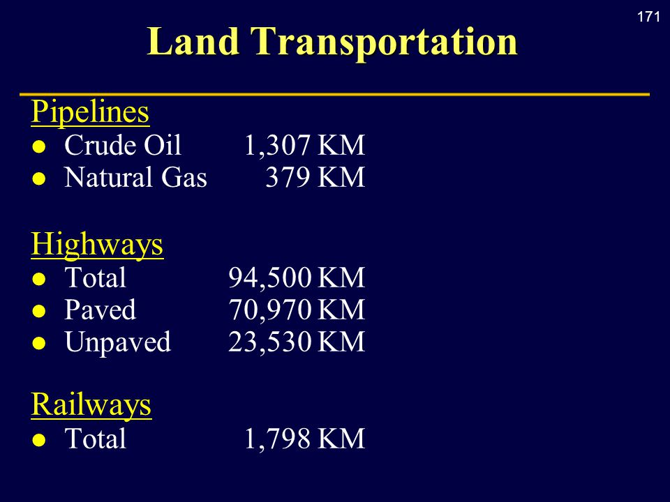 171 Land Transportation Pipelines l Crude Oil1,307 KM l Natural Gas379 KM Highways l Total 94,500 KM l Paved 70,970 KM l Unpaved 23,530 KM Railways l Total 1,798 KM