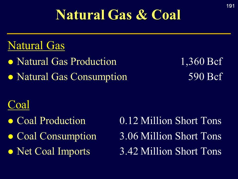 191 Natural Gas & Coal Natural Gas l Natural Gas Production1,360 Bcf l Natural Gas Consumption590 Bcf Coal l Coal Production0.12 Million Short Tons l