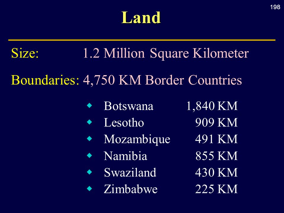 198Land Size:1.2 Million Square Kilometer Boundaries: 4,750 KM Border Countries  Botswana1,840 KM  Lesotho909 KM  Mozambique491 KM  Namibia855 KM  Swaziland430 KM  Zimbabwe225 KM