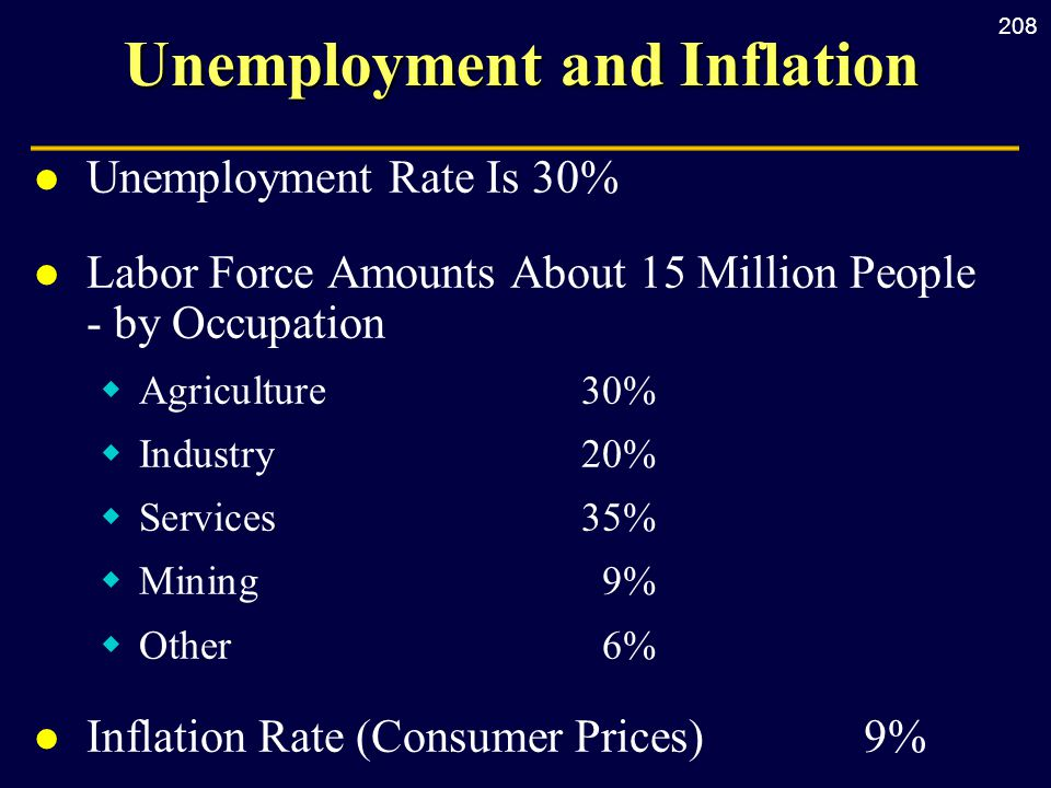 208 Unemployment and Inflation l Unemployment Rate Is 30% l Labor Force Amounts About 15 Million People - by Occupation  Agriculture30%  Industry20%  Services35%  Mining9%  Other6% l Inflation Rate (Consumer Prices) 9%