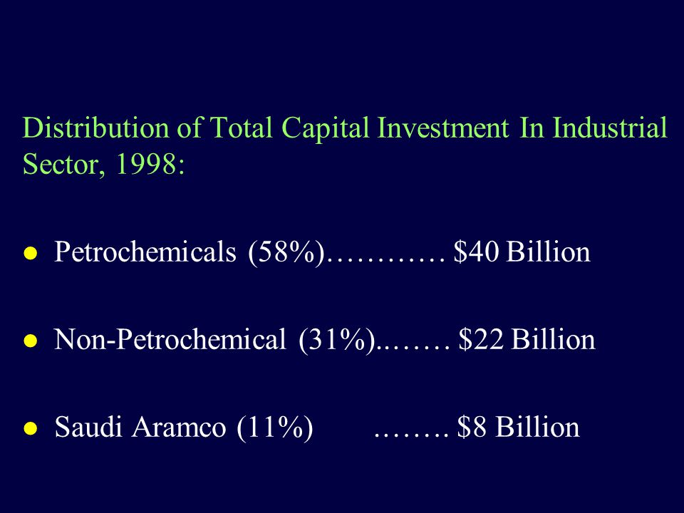 Distribution of Total Capital Investment In Industrial Sector, 1998: l Petrochemicals (58%)………… $40 Billion l Non-Petrochemical (31%)..…… $22 Billion l Saudi Aramco (11%).…….
