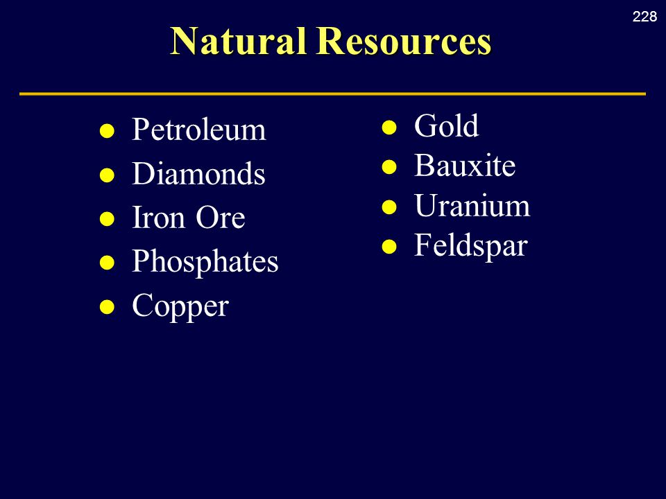 228 Natural Resources l Petroleum l Diamonds l Iron Ore l Phosphates l Copper l Gold l Bauxite l Uranium l Feldspar