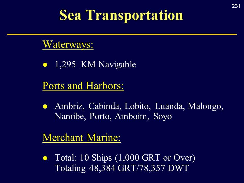 231 Sea Transportation Waterways: l 1,295 KM Navigable Ports and Harbors: l Ambriz, Cabinda, Lobito, Luanda, Malongo, Namibe, Porto, Amboim, Soyo Merc