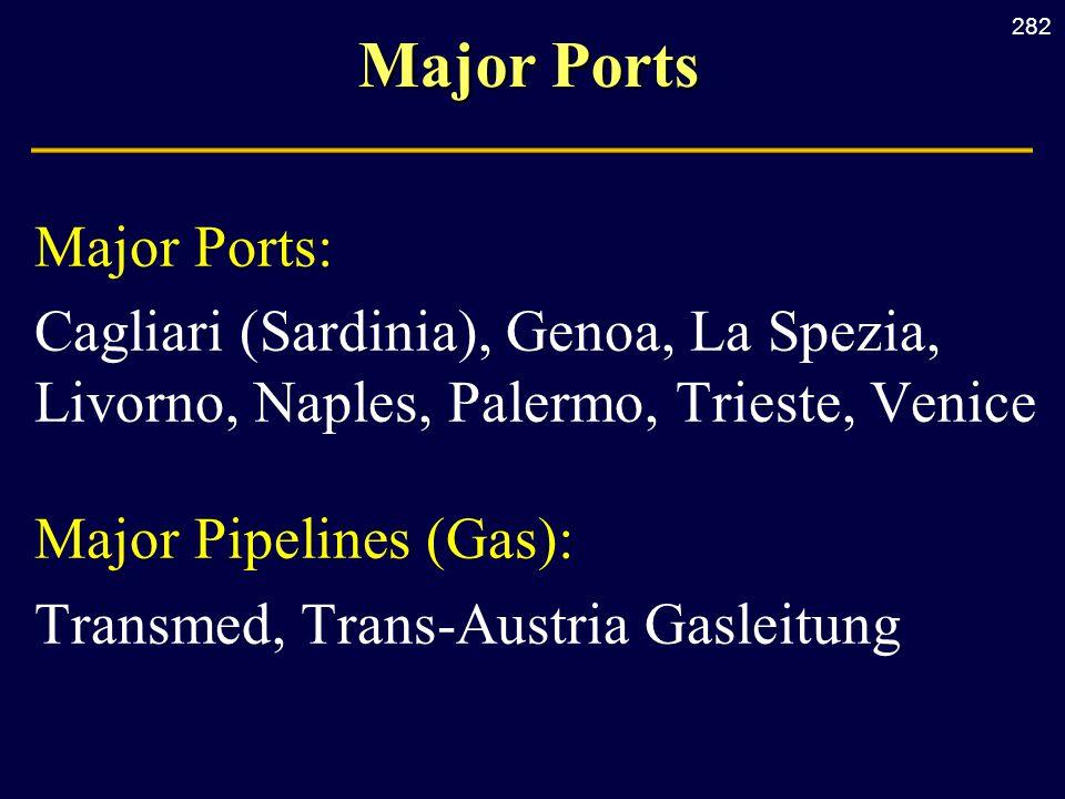 282 Major Ports Major Ports: Cagliari (Sardinia), Genoa, La Spezia, Livorno, Naples, Palermo, Trieste, Venice Major Pipelines (Gas): Transmed, Trans-A