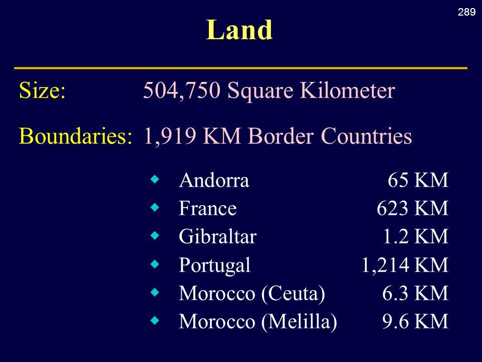 289Land Size:504,750 Square Kilometer Boundaries: 1,919 KM Border Countries  Andorra 65 KM  France 623 KM  Gibraltar 1.2 KM  Portugal 1,214 KM  M