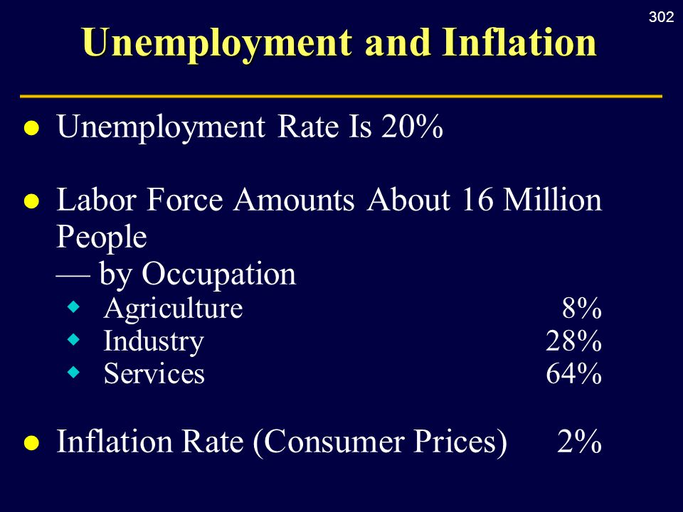 302 Unemployment and Inflation l Unemployment Rate Is 20% l Labor Force Amounts About 16 Million People — by Occupation  Agriculture 8%  Industry 28%  Services 64% l Inflation Rate (Consumer Prices) 2%
