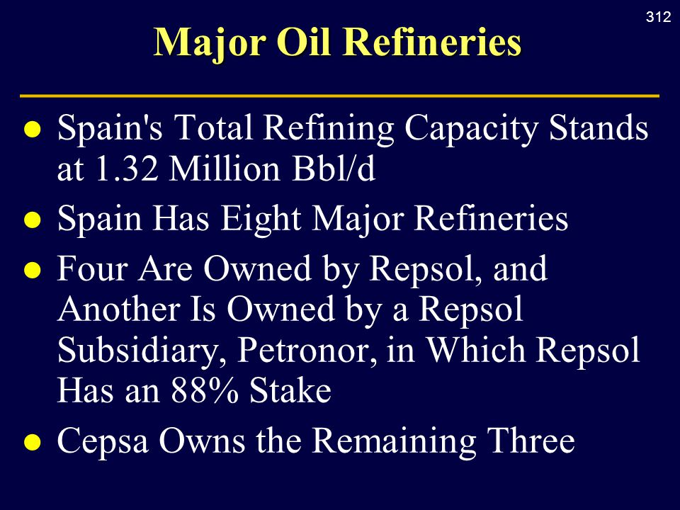 312 Major Oil Refineries l Spain s Total Refining Capacity Stands at 1.32 Million Bbl/d l Spain Has Eight Major Refineries l Four Are Owned by Repsol, and Another Is Owned by a Repsol Subsidiary, Petronor, in Which Repsol Has an 88% Stake l Cepsa Owns the Remaining Three