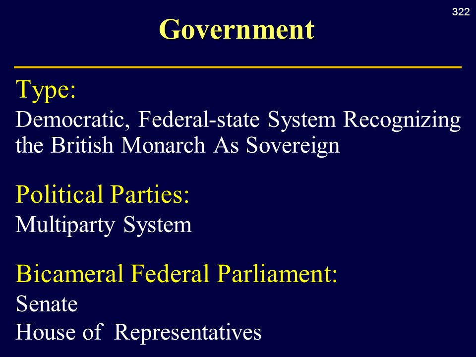 322Government Type: Democratic, Federal-state System Recognizing the British Monarch As Sovereign Political Parties: Multiparty System Bicameral Federal Parliament: Senate House of Representatives