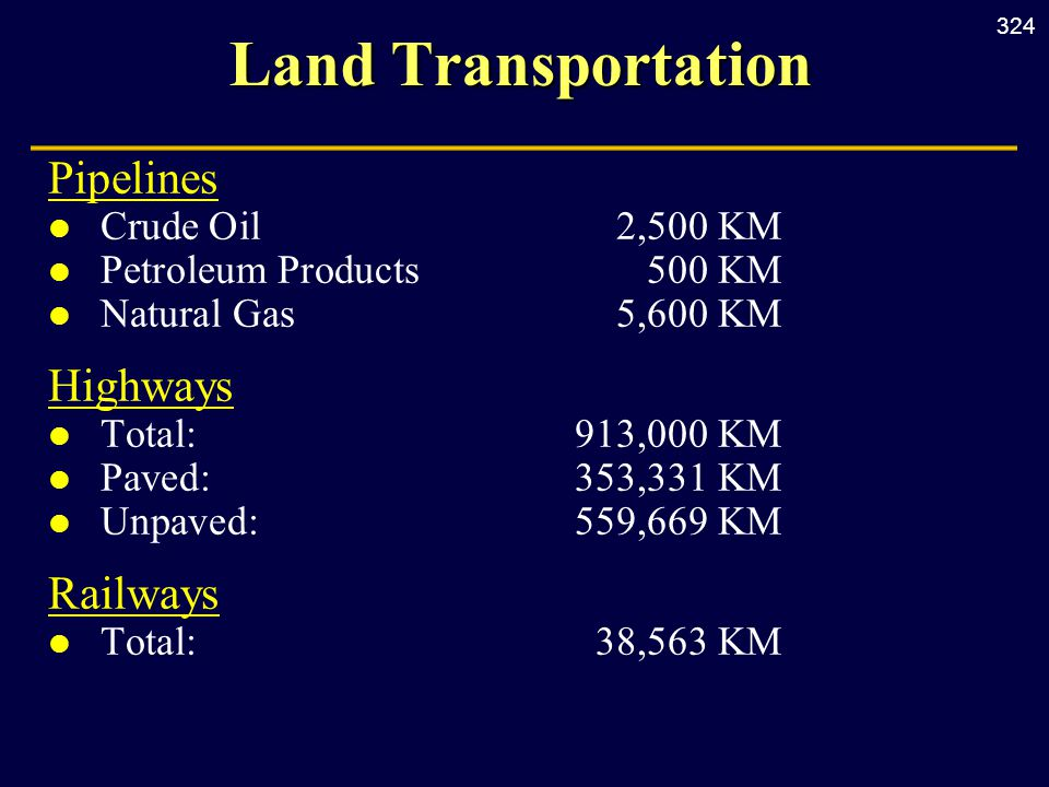324 Land Transportation Pipelines l Crude Oil2,500 KM l Petroleum Products500 KM l Natural Gas5,600 KM Highways l Total:913,000 KM l Paved:353,331 KM l Unpaved:559,669 KM Railways l Total:38,563 KM