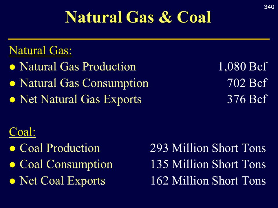 340 Natural Gas & Coal Natural Gas: l Natural Gas Production1,080 Bcf l Natural Gas Consumption702 Bcf l Net Natural Gas Exports376 Bcf Coal: l Coal Production293 Million Short Tons l Coal Consumption135 Million Short Tons l Net Coal Exports162 Million Short Tons