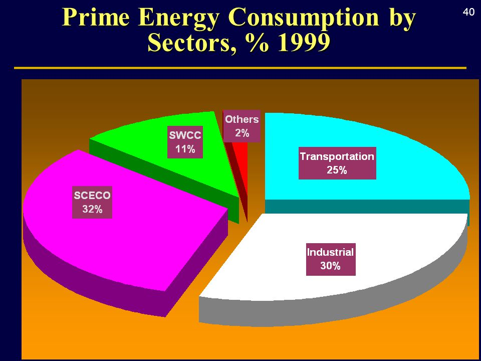 40 Prime Energy Consumption by Sectors, % 1999