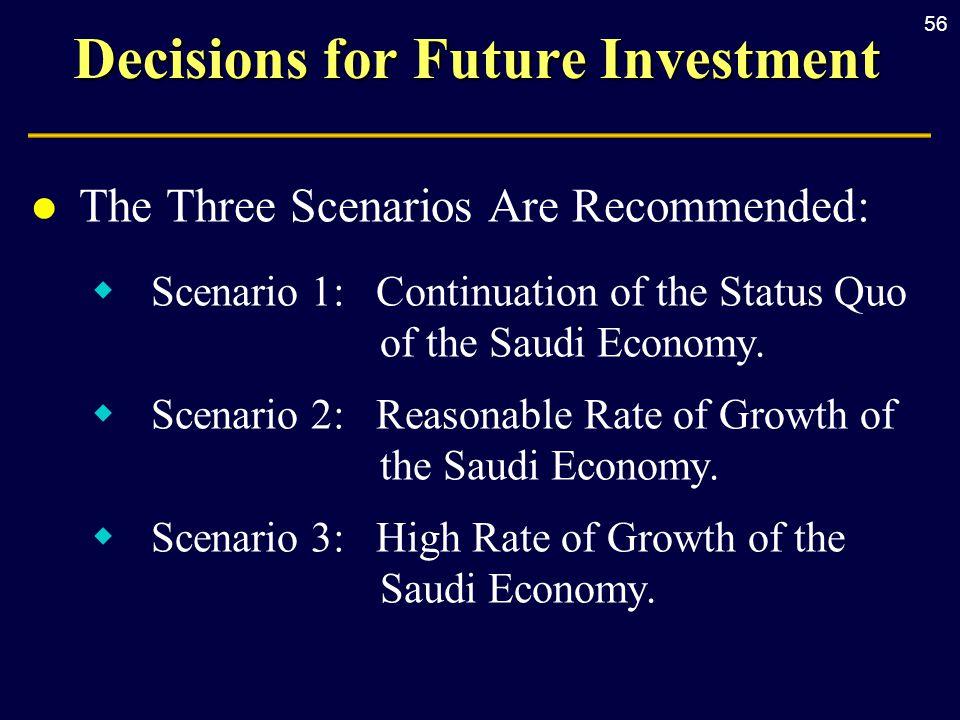 56 Decisions for Future Investment l The Three Scenarios Are Recommended:  Scenario 1: Continuation of the Status Quo of the Saudi Economy.  Scenari