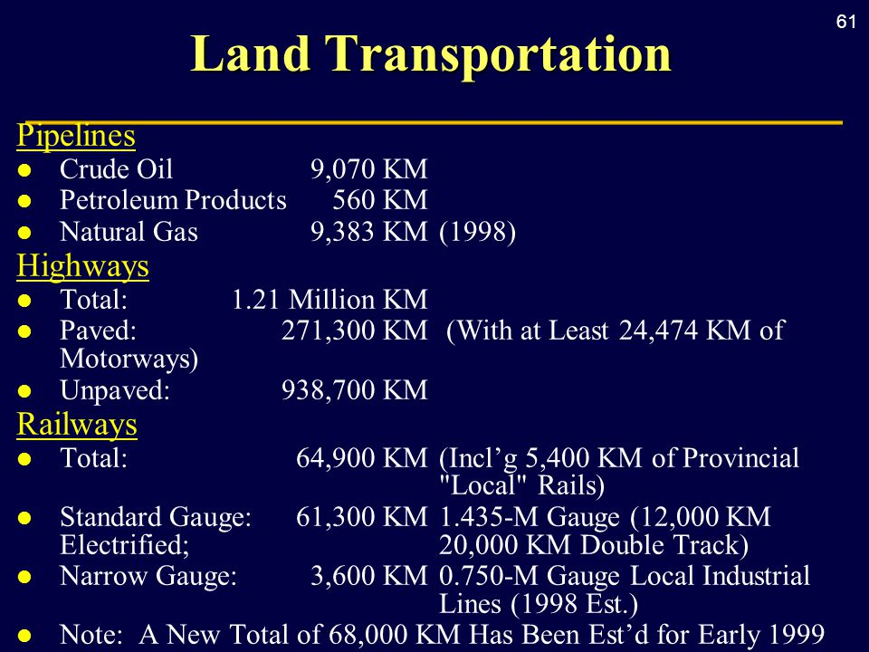 61 Land Transportation Pipelines l Crude Oil 9,070 KM l Petroleum Products 560 KM l Natural Gas 9,383 KM(1998) Highways l Total: 1.21 Million KM l Paved: 271,300 KM (With at Least 24,474 KM of Motorways) l Unpaved: 938,700 KM Railways l Total: 64,900 KM (Incl'g 5,400 KM of Provincial Local Rails) l Standard Gauge: 61,300 KM1.435-M Gauge (12,000 KM Electrified; 20,000 KM Double Track) l Narrow Gauge: 3,600 KM 0.750-M Gauge Local Industrial Lines (1998 Est.) l Note: A New Total of 68,000 KM Has Been Est'd for Early 1999