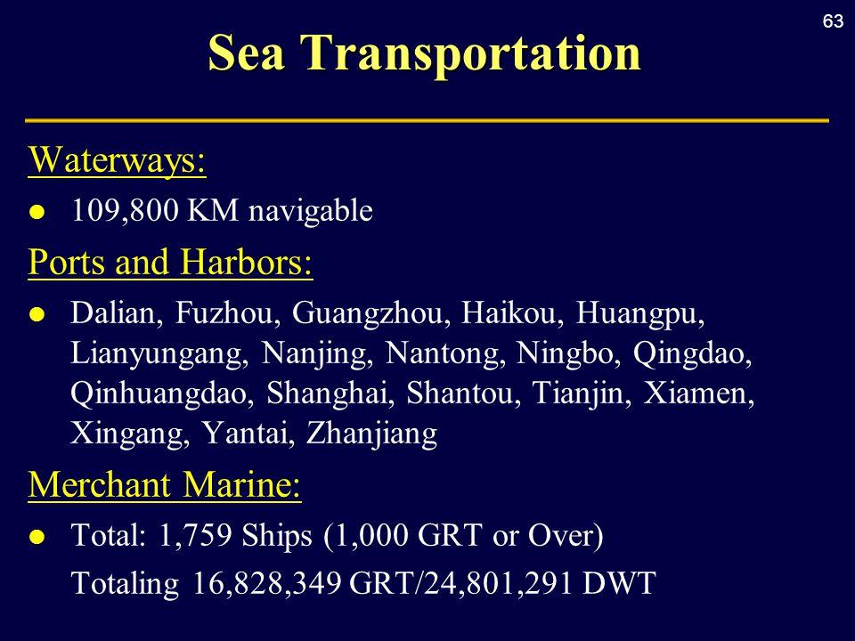 63 Sea Transportation Waterways: l 109,800 KM navigable Ports and Harbors: l Dalian, Fuzhou, Guangzhou, Haikou, Huangpu, Lianyungang, Nanjing, Nantong