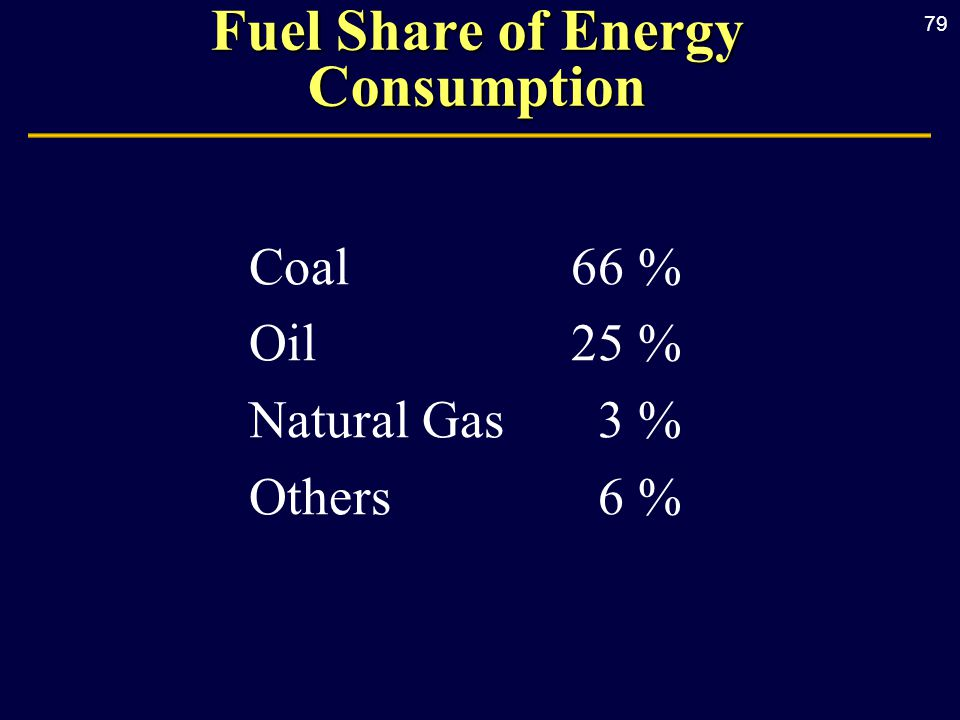79 Fuel Share of Energy Consumption Coal66 % Oil25 % Natural Gas3 % Others6 %