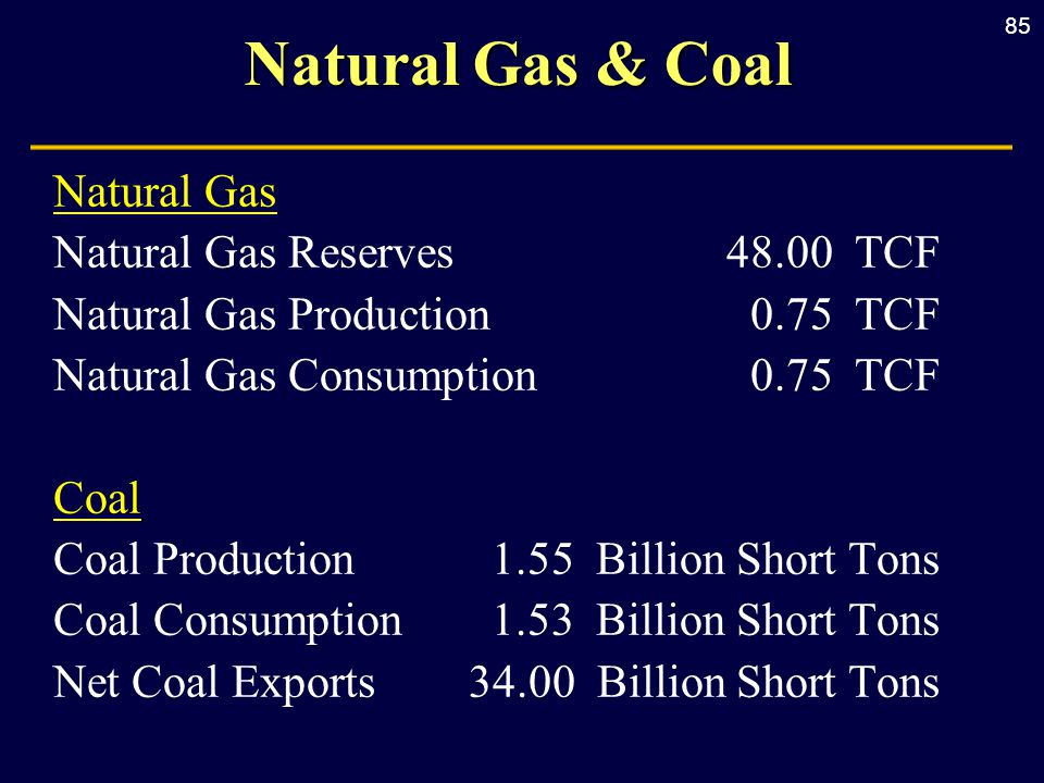 85 Natural Gas & Coal Natural Gas Natural Gas Reserves 48.00 TCF Natural Gas Production0.75 TCF Natural Gas Consumption0.75 TCF Coal Coal Production1.55 Billion Short Tons Coal Consumption1.53 Billion Short Tons Net Coal Exports34.00 Billion Short Tons
