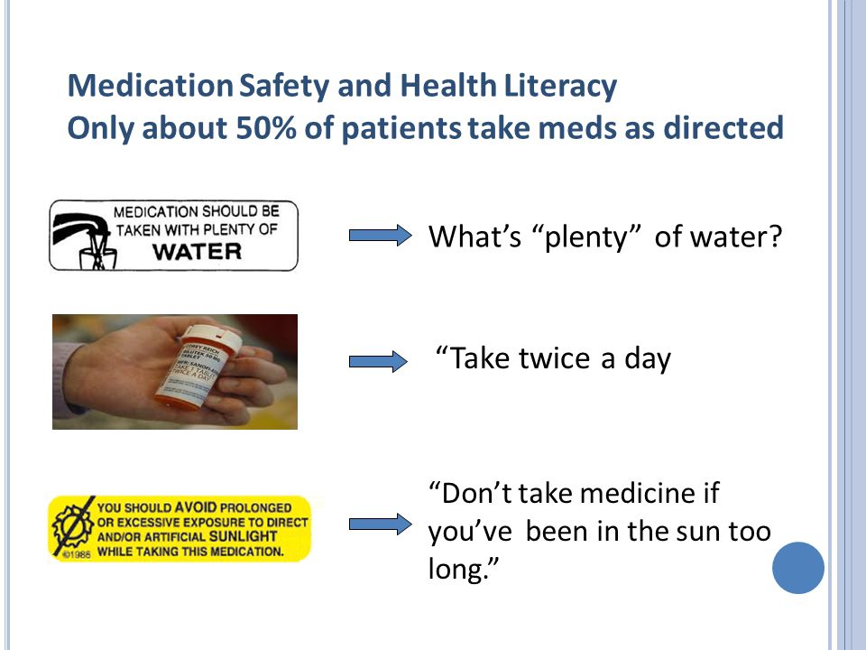 Medication Safety and Health Literacy Only about 50% of patients take meds as directed What's plenty of water.