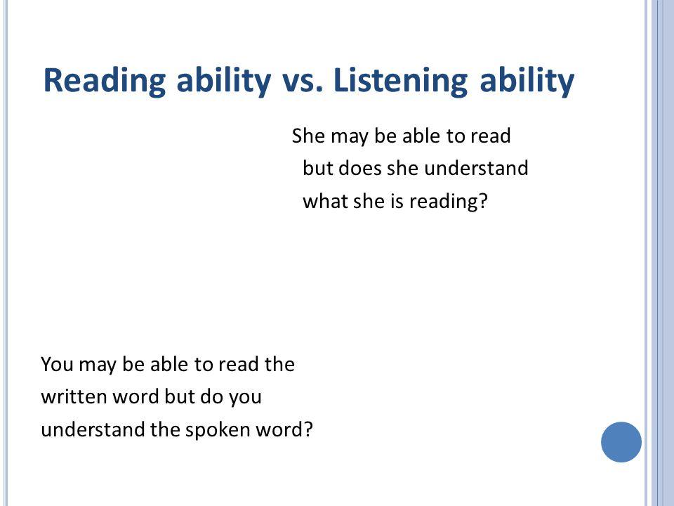 Reading ability vs.