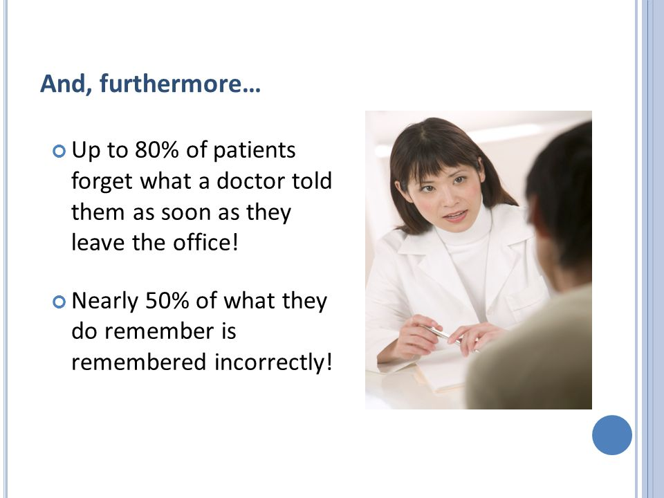 And, furthermore… Up to 80% of patients forget what a doctor told them as soon as they leave the office.