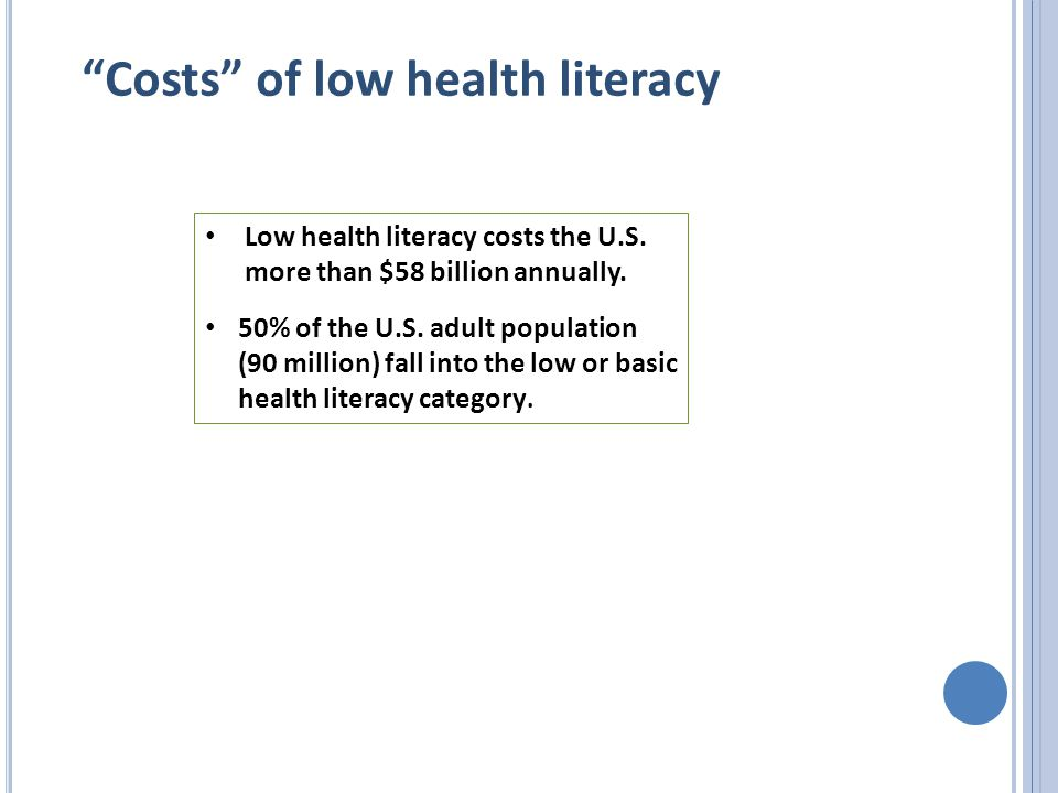 Costs of low health literacy Low health literacy costs the U.S.