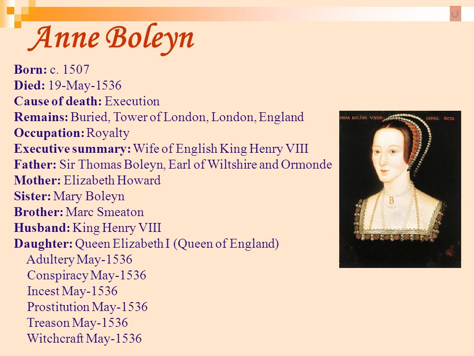 Anne Boleyn Born: c. 1507 Died: 19-May-1536 Cause of death: Execution Remains: Buried, Tower of London, London, England Occupation: Royalty Executive