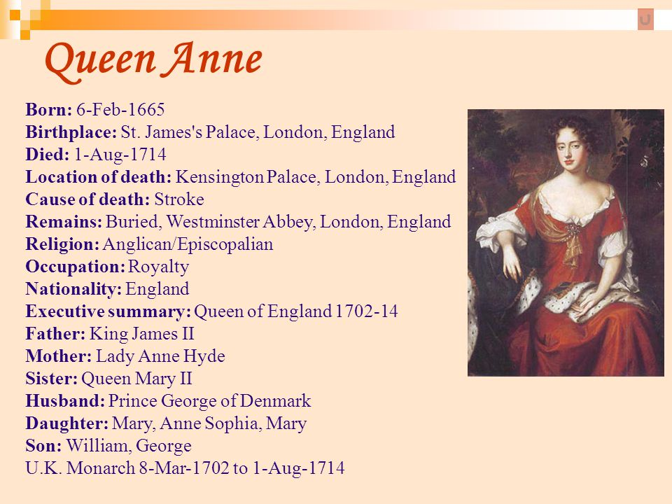 Queen Anne Born: 6-Feb-1665 Birthplace: St. James's Palace, London, England Died: 1-Aug-1714 Location of death: Kensington Palace, London, England Cau