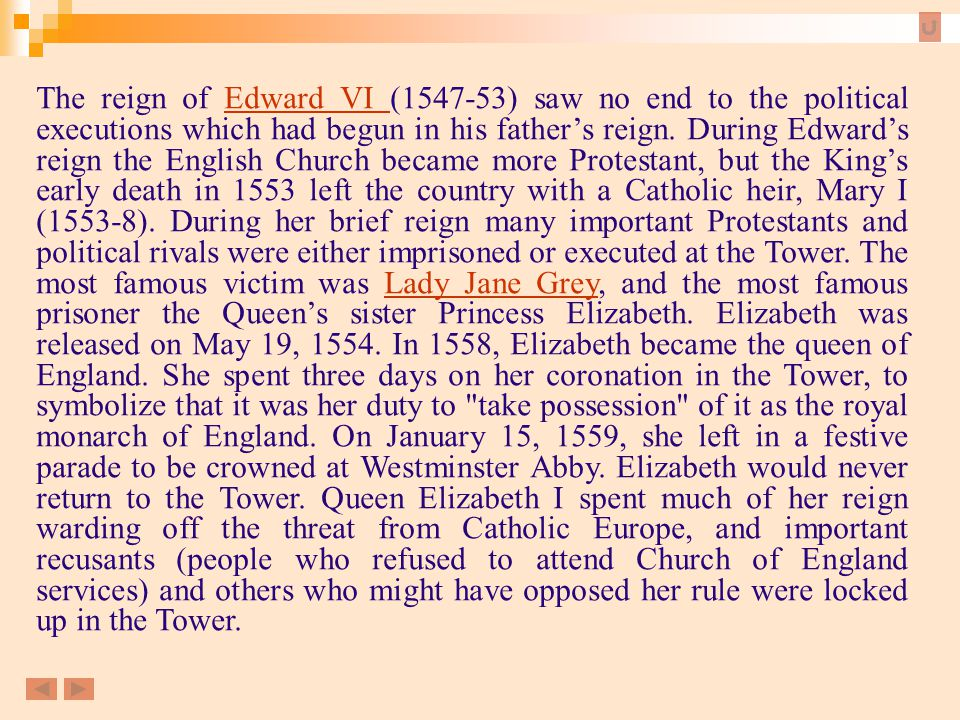 The reign of Edward VI (1547-53) saw no end to the political executions which had begun in his father's reign. During Edward's reign the English Churc