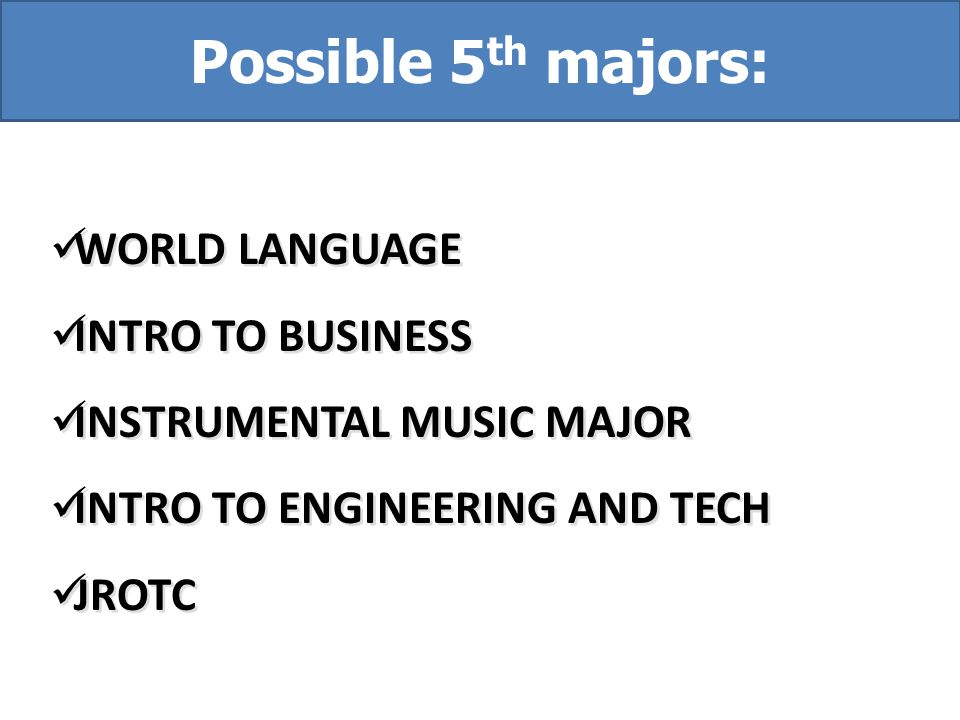 WORLD LANGUAGE INTRO TO BUSINESS INSTRUMENTAL MUSIC MAJOR INTRO TO ENGINEERING AND TECH JROTC WORLD LANGUAGE INTRO TO BUSINESS INSTRUMENTAL MUSIC MAJO